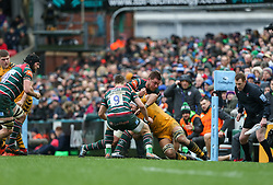Nizaam Carr of Wasps is grounded by the Leicester Tigers defence - Mandatory by-line: Arron Gent/JMP - 15/02/2020 - RUGBY - Welford Road Stadium - Leicester, England - Leicester Tigers v Wasps - Gallagher Premiership Rugby