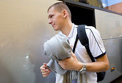 Jaka Klobucar at arrival of Slovenian basketball team from a friendly tournament in Spain, on August 9, 2010 at City Hotel, Ljubljana, Slovenia. (Photo by Vid Ponikvar / Sportida)