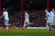 Leeds United defender Liam Cooper (6) scores a goal and celebrates to make the score 1-1 during the EFL Sky Bet Championship match between Brentford and Leeds United at Griffin Park, London, England on 11 February 2020.