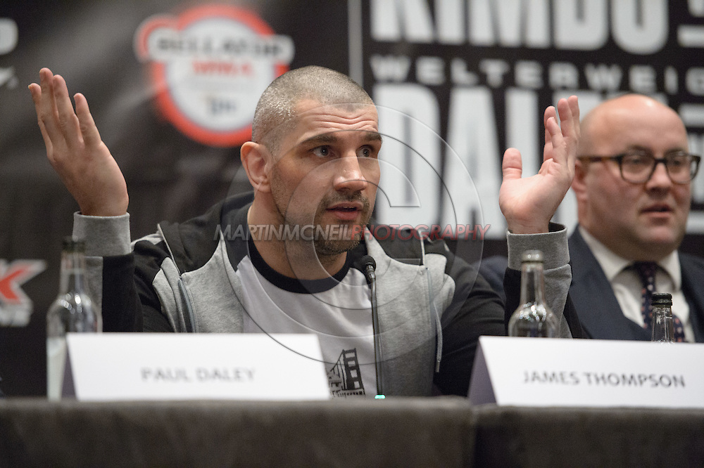 """LONDON, ENGLAND, APRIL 18, 2016: James Thompson is pictured during the event announcement press conference for """"Bellator 158: Slice vs. Thompson"""" inside the Four Seasons Hotel in Park Lane, London (© Martin McNeil)"""
