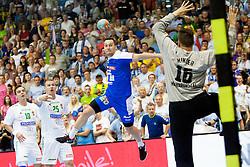 Luka Zvizej #20 of Slovenia during handball match between National teams of Slovenia and Hungary in play off of 2015 Men's World Championship Qualifications on June 15, 2014 in Rdeca dvorana, Velenje, Slovenia. Photo by Urban Urbanc / Sportida