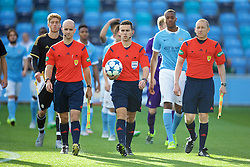 MANCHESTER, ENGLAND - Tuesday, September 15, 2015: Referee Andrew Dallas and his assistants Jordan Stokoe, David Roome before the UEFA Youth League Group D match between Manchester City and Juventus at the City of Manchester Stadium. (Pic by David Rawcliffe/Propaganda)