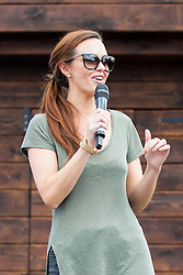 © Licensed to London News Pictures. 07/08/2016. Malton UK. Picture shows Hollyoaks actress Jennifer Metcalfe on stage during a day out at Flamingo land in Yorkshire. The actress who plays Mercedes McQueen in the soap was accompanied by her partner & former Geordie Shore star Greg Lake. Jennifer was at Flamingo Land to launch a new restaurant at the adventure park called Fabrizio's. Photo credit: Andrew McCaren/LNP