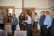 College of Business alumni award winners visit faculty and staff and Copeland Hall during Homecoming weekend. Photo by Ben Siegel/ © Ohio University