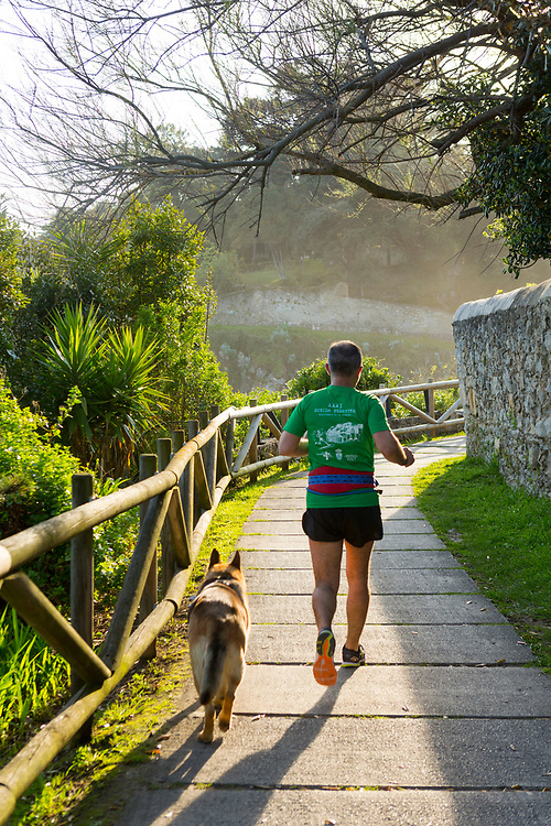 SANTANDER, SPAIN - April 17 2018 -  Jogger runs along Santander coastal pathway with alsatian dog, Northern Spain, Europe.