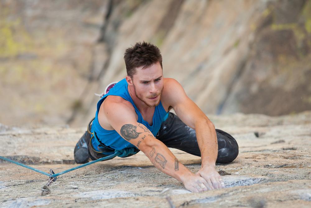 Sam Tucker Climbing Air Test, 5.13a at Skaha Bluffs in Penticton, BC