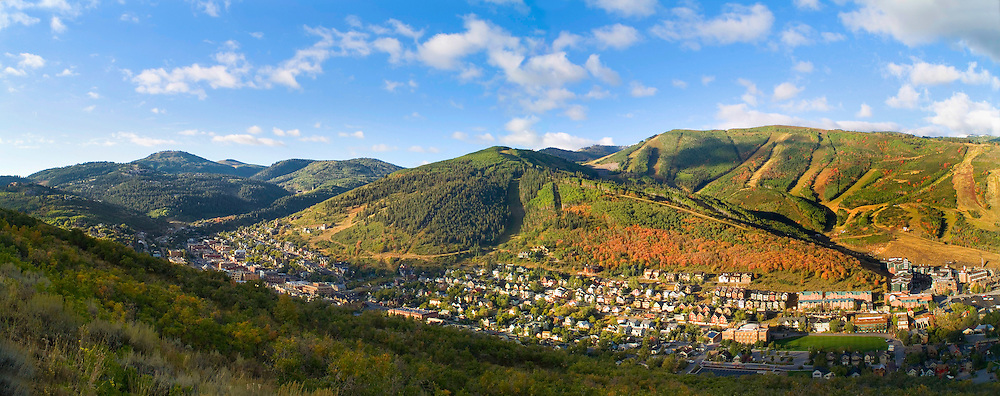 panoramic view of Old Town, Park City, UT .