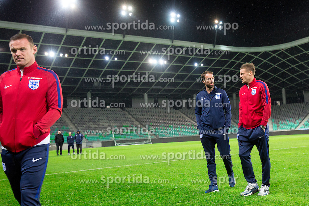 Wayne Rooney, Jamie Vardy and Gareth Southgate, head coach during a tour of the stadium before an England press conference ahead of the football match between National teams of Slovenia and England in Round #3 of FIFA World Cup Russia 2018 Qualifier Group F, on October 10, 2016 in SRC Stozice, Ljubljana, Slovenia. Photo by Morgan Kristan / Sportida