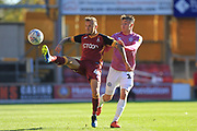 David Ball and Ollie Rathbone during the EFL Sky Bet League 1 match between Bradford City and Rochdale at the Northern Commercials Stadium, Bradford, England on 20 October 2018.