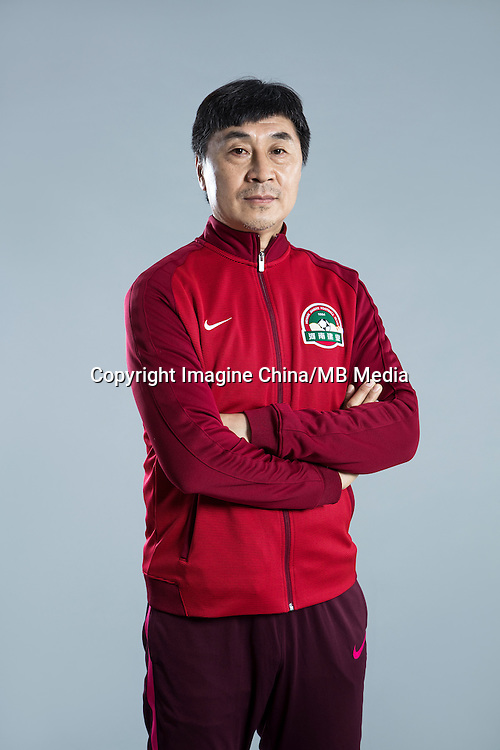 Portrait of head coach Jia Xiuquan of Henan Jianye F.C. for the 2017 Chinese Football Association Super League, in Zhengzhou city, central China's Henan province, 19 February 2017.
