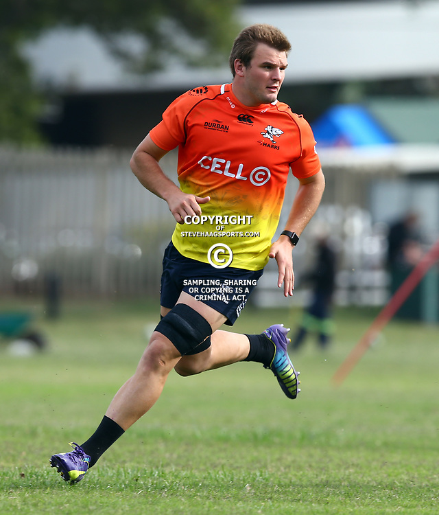 Tyler Paul during The Cell C Sharks training session at Growthpoint Kings Park in Durban, South Africa. 21 August 2017(Photo by Steve Haag)<br /> <br /> images for social media must have consent from Steve Haag