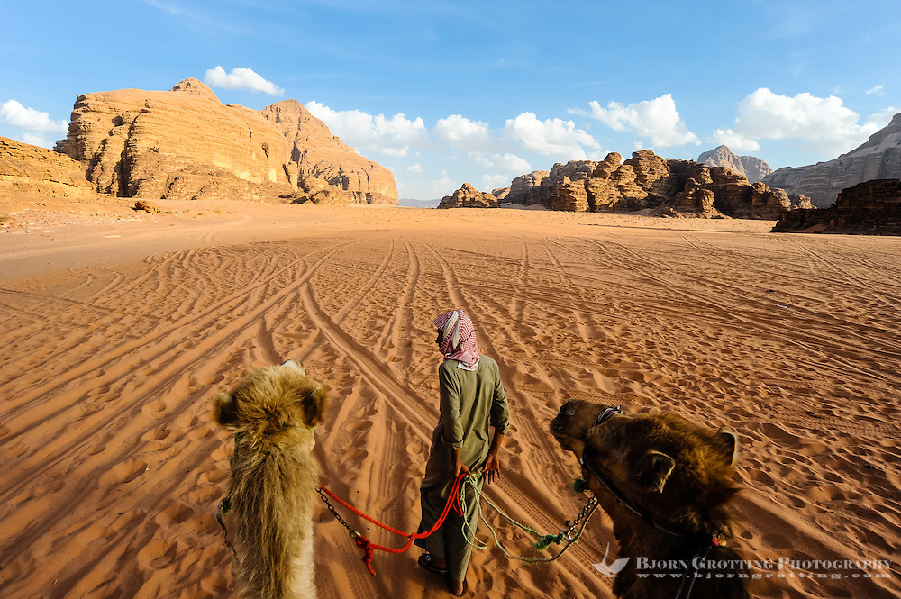 Jordan. Wadi Rum is also known as The Valley of the Moon. Dromedary ride through the desert.