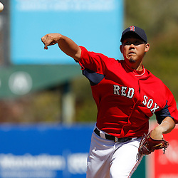 February 28, 2011; Fort Myers, FL, USA; Boston Red Sox starting pitcher Daisuke Matsuzaka (18) during a spring training exhibition game against the Minnesota Twins at City of Palms Park.  Mandatory Credit: Derick E. Hingle-US PRESSWIRE