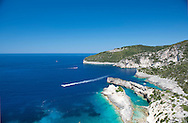 Prasses an unusual limestone rock formation off the west coast of Paxos, The Ionian Islands, The Greek Islands,Greece, Europe