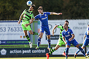 Forest Green Rovers Christian Doidge(9) wins a header during the Vanarama National League match between Forest Green Rovers and Guiseley  at the New Lawn, Forest Green, United Kingdom on 22 October 2016. Photo by Shane Healey.