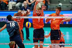 11-08-2019 NED: FIVB Tokyo Volleyball Qualification 2019 / Netherlands - USA, Rotterdam<br /> Final match pool B in hall Ahoy between Netherlands vs. United States (1-3) and Olympic ticket  for USA / Garrett Muagututia #18 of USA, Nimir Abdelaziz #14 of Netherlands, Luuc van der Ent #5 of Netherlands,Thijs Ter Horst #4 of Netherlands