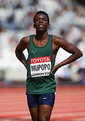 London, 2017 August 06. Kabange Mupopo, Zambia awaits the start of heat three of the Women's 400m on day three of the IAAF London 2017 world Championships at the London Stadium. © Paul Davey.