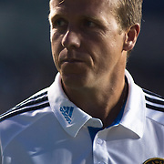 Philadelphia Union Manager JOHN HACKWORTH leaves the field at the end of the second half a MLS regular season international friendly match between Stoke City F.C. and the Philadelphia Union Tuesday, July. 30, 2013 at PPL Park in Chester PA.