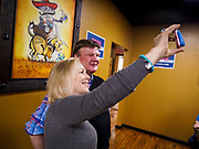 19 APRIL 2019 - HARLAN, IOWA: US Senator KIRSTEN GILLIBRAND takes a selfie with a man after a campaign event in a Mexican restaurant in Harlan, a rural Iowa town. Gillibrand is campaigning in western Iowa Friday to support her candidacy to be the Democratic nominee for the US presidency in the 2020 election. Iowa traditionally hosts the the first selection event of the presidential election cycle. The Iowa Caucuses will be on Feb. 3, 2020.                PHOTO BY JACK KURTZ