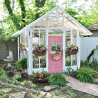 Vintage garden: Shed made from architectural salvage