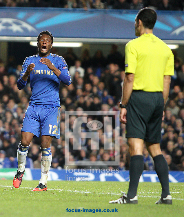 Picture by Paul Terry/Focus Images Ltd +44 7545 642257.07/11/2012.John Obi Mikel of Chelsea reacts to a decision from referee Carlos Velasco Carballo during the UEFA Champions League match at Stamford Bridge, London.