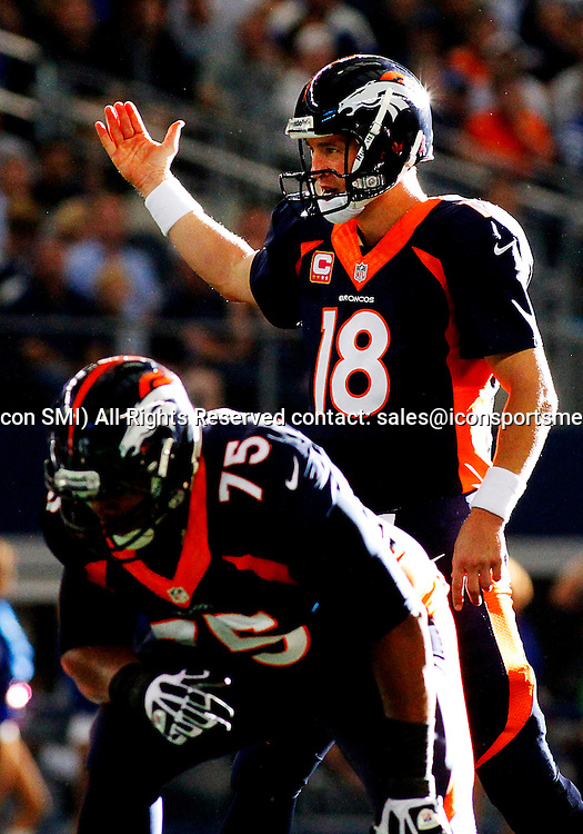 06 OCTOBER 2013: Denver Broncos quarterback Peyton Manning (18) during a regular season NFL football game between the Denver Broncos and Dallas Cowboys at AT&T Stadium in Arlington, TX. Denver won 51-48.