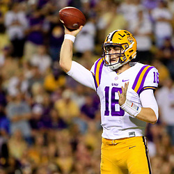 Oct 1, 2016; Baton Rouge, LA, USA;  LSU Tigers quarterback Danny Etling (16) throws during the second quarter of a game against the Missouri Tigers at Tiger Stadium. Mandatory Credit: Derick E. Hingle-USA TODAY Sports