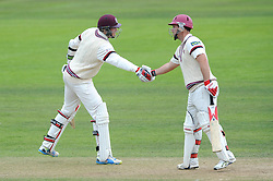 Jim Allenby of Somerset is congratulated on his half-century by  team mate Jamie Overton of Somerset  - Mandatory byline: Dougie Allward/JMP - 07966386802 - 11/09/2015 - Cricket - County Ground -Taunton,England - Somerset CCC v Hampshire CCC - LV=County Championship - Day 3