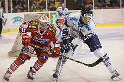 11.09.2015, Stadthalle, Klagenfurt, AUT, EBEL, EC KAC vs Fehervar AV 19, im Bild Daniel Ban (EC KAC, #11), Bence Sziranyi (Fehervar AV 19, #6) // during the Erste Bank Eishockey League match betweeen EC KAC and Fehervar AV 19 at the City Hall in Klagenfurt, Austria on 2015/09/10. EXPA Pictures © 2015, PhotoCredit: EXPA/ Gert Steinthaler