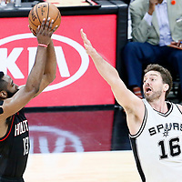 01 May 2017: Houston Rockets guard James Harden (13) takes a jump shot over San Antonio Spurs center Pau Gasol (16) during the Houston Rockets 126-99 victory over the San Antonio Spurs, in game 1 of the Western Conference Semi Finals, at the AT&T Center, San Antonio, Texas, USA.