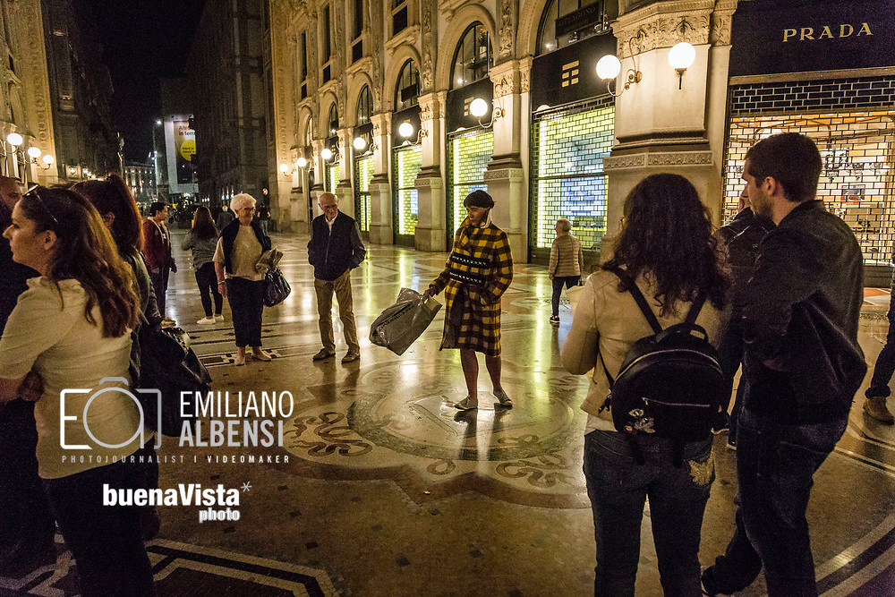 Emiliano Albensi<br /> 14/10/2017 Milano<br /> Nella foto: Galleria Vittorio Emanuele II a Milano con il &quot;benaugurante&quot; mosaico del toro<br /> <br /> Emiliano Albensi<br /> 14/10/2017 Milan<br /> In the picture: the Vittorio Emanuele II Gallery in Milan with its &quot;blessing&quot; mosaic of the bull