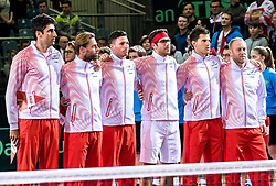 02.02.2018, VAZ, St. Pölten, AUT, Davis Cup, Österreich vs Weissrussland, Europa-Afrika-Zone, 1. Runde, im Bild v.l. Philipp Oswald (AUT), Oliver Marach (AUT), Dennis Novak (AUT), Gerald Melzer (AUT), Dominic Thiem (AUT), Trainer Stefan Koubek (AUT) // f.l. v.l. Philipp Oswald of Austria Oliver Marach of Austria Dennis Novak of Austria Gerald Melzer of Austria Dominic Thiem of Austria Trainer Stefan Koubek of Austria during the Davis Cup - Europe - African zone - 1st Round between Austria and Belarus at the VAZ in St. Pölten, Austria on 2018/02/02. EXPA Pictures © 2018, PhotoCredit: EXPA/ Sebastian Pucher
