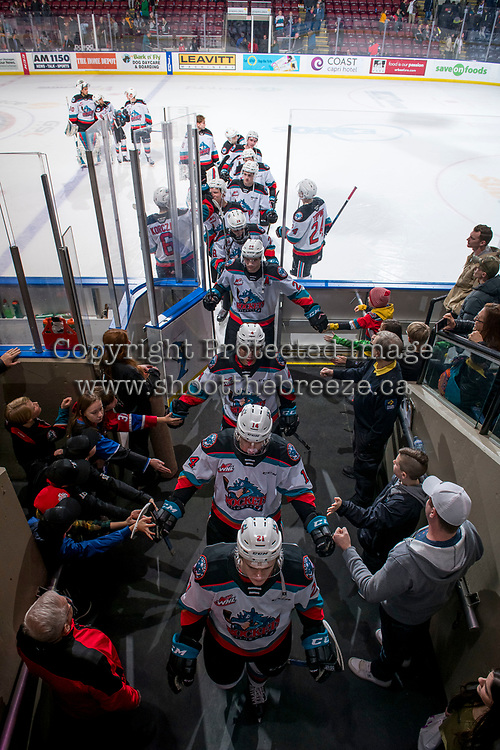 KELOWNA, BC - FEBRUARY 12: The Kelowna Rockets exit the ice after the win against the Tri-City Americans at Prospera Place on February 8, 2020 in Kelowna, Canada. (Photo by Marissa Baecker/Shoot the Breeze)