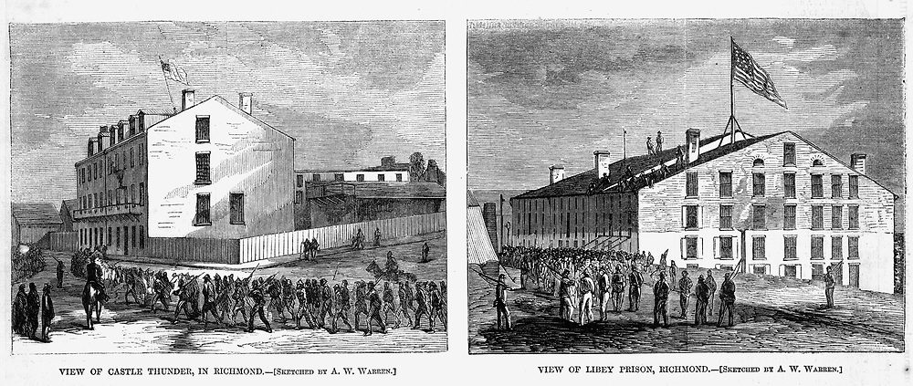 Civil War: Union forces occupy the capitol of the Confederacy & liberate Libey Prison and Castle Thunder Prison where Union Prisoners of War (POWs) were held in Richmond. Virginia Harper's Weekly April 22, 1865