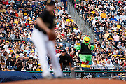 Pittsburgh Pirates mascot entertains the crowd during the game against the Washington Nationals on May 4, 2013 at PNC Park in Pittsburgh, Pennsylvania. (Photo by Joe Robbins)