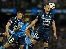 October 7, 2017 - Melbourne, Victoria, Australia - Leigh Broxham (#6) of Melbourne Victory in action during the round 1 match between Melbourne Victory and Sydney FC at Etihad Stadium in Melbourne, Australia during the 2017/2018 Australian A-League season. (Credit Image: © Theo Karanikos via ZUMA Wire)