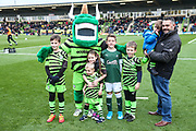 Mascots during the EFL Sky Bet League 2 match between Forest Green Rovers and Plymouth Argyle at the New Lawn, Forest Green, United Kingdom on 16 November 2019.