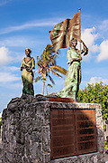 Statue honoring the loyalists who left America following the Revolutionary War at the Loyalist Memorial Sculpture Garden in New Plymouth on Green Turtle Cay, Bahamas.