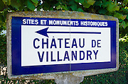 Historic monument sign at Chateau de Villandry, Villandry, Loire Valley, France