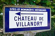 Historic monument sign at Chateau de Villandry, Villandry, Loire Valley, France