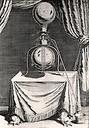 Otto von Guericke's air pump. From 'Experimental Nova' by Otto von Guericke (Amsterdam, 1672).  Engraving.