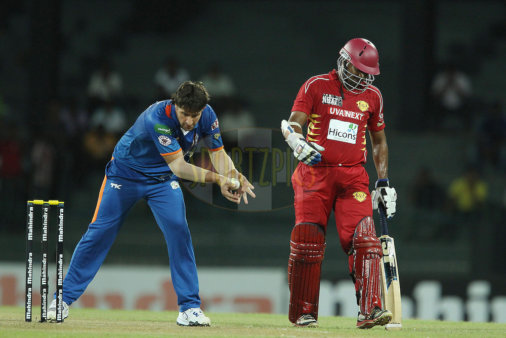 Collin de Grand Homme gathers the ball during match 21 of the Sri Lankan Premier League between Uva Next and Nagenahiras held at the Premadasa Stadium in Colombo, Sri Lanka on the 27th August 2012. .Photo by Ron Gaunt/SPORTZPICS/SLPL