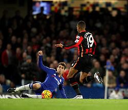 Oscar of Chelsea tackles Junior Stanislas of Bournemouth - Mandatory byline: Robbie Stephenson/JMP - 05/12/2015 - Football - Stamford Bridge - London, England - Chelsea v AFC Bournemouth - Barclays Premier League