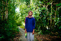 A portrait of an elderly Cham woman in Can Tho, the Mekong Delta, southern Vietnam.