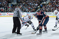 KELOWNA, CANADA - MARCH 25: Jordan Borstmayer #11 of Kelowna Rockets lines up against Garrett Pilon #41 of Kamloops Blazers on March 25, 2016 at Prospera Place in Kelowna, British Columbia, Canada.  (Photo by Marissa Baecker/Shoot the Breeze)  *** Local Caption *** Jordan Borstmayer; Garrett Pilon;