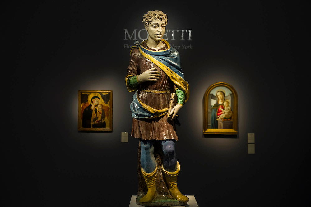 Works from the 15th century in the Moretti gallery - Frieze Masters 2014 - including a huge range of works from religious relics, through old masters to contemporary art with prices upto millions of pounds. Regents Park, London, 14 Oct 2014.