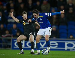 CARDIFF, WALES - Tuesday, February 14, 2012: Cardiff City's Peter Whittingham in action against Peterborough United during the Football League Championship match at the Cardiff City Stadium. (Pic by David Rawcliffe/Propaganda)