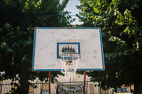 COMO, ITALY - 21 JUNE 2017: A basketball board is seen here in the playground of the migrant center ran by priest Giusto della Valle in Como, Italy, on June 21st 2017.<br /> <br /> Residents of Como are worried that funds redirected to migrants deprived the town's handicapped of services and complained that any protest prompted accusations of racism.<br /> <br /> Throughout Italy, run-off mayoral elections on Sunday will be considered bellwethers for upcoming national elections and immigration has again emerged as a burning issue.<br /> <br /> Italy has registered more than 70,000 migrants this year, 27 percent more than it did by this time in 2016, when a record 181,000 migrants arrived. Waves of migrants continue to make the perilous, and often fatal, crossing to southern Italy from Africa, South Asia and the Middle East, seeing Italy as the gateway to Europe.<br /> <br /> While migrants spoke of their appreciation of Italy's humanitarian efforts to save them from the Mediterranean Sea, they also expressed exhaustion with the country's intricate web of permits and papers and European rules that required them to stay in the country that first documented them.