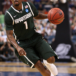 Mar 17, 2011; Tampa, FL, USA; Michigan State Spartans guard Kalin Lucas (1) during the first half of the second round of the 2011 NCAA men's basketball tournament against the UCLA Bruins at the St. Pete Times Forum.  Mandatory Credit: Derick E. Hingle