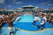 Aboard the Rhapsody of the Seas, on a cruise from Vancouver to Hawaii. Belly Flop Competition.